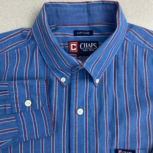 Chaps-Button-Up-Shirt-Mens-Large-Blue-Red-Long-Sleeve-Striped-Button-Down-Collar