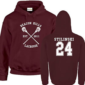 quality design 6862c bc12e Dettagli su Lacrosse Di Beacon Hills FELPA CON CAPPUCCIO Bordeaux Stili  Lupo 24 Teenager