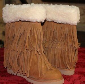 8886f43c0 NEW Steve Madden Girl Leather Sleet Brown Cognac Tan Fur Fringe Boot ...