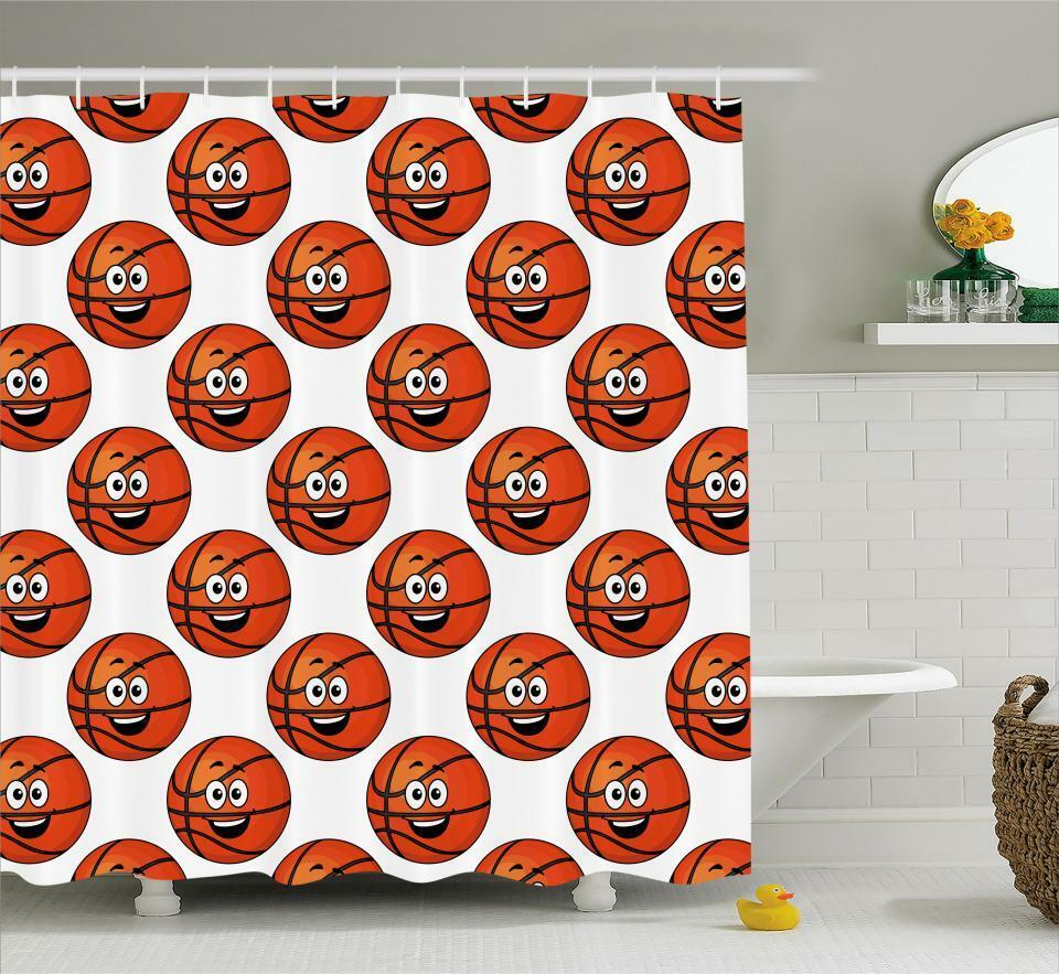 Sports Theme Pattern Shower Curtain Fabric Decor Set With Hooks 4 Grosses 428c32