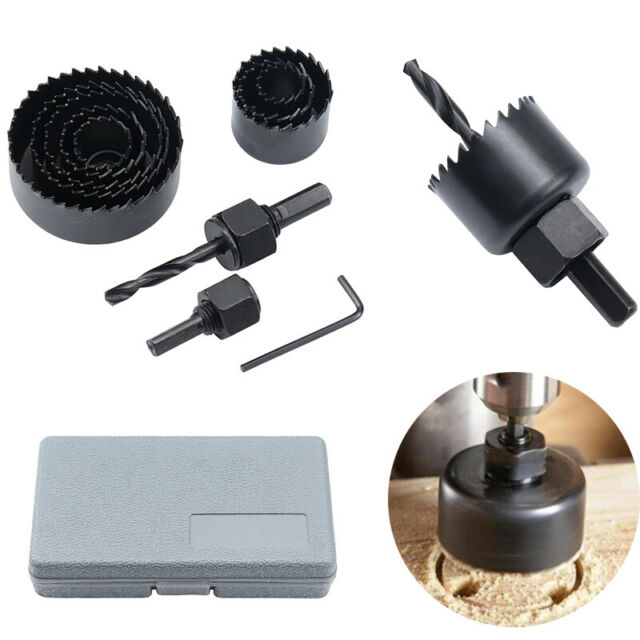 11Pcs Carbon Steel Hole Saw Kit Metal Circle Cutter Round Drill Bits Set 19-64mm