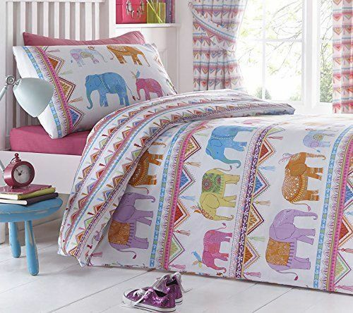 Single Bed Duvet Cover Set Carnival Elephants Multi Bright Kids Bedding Tents