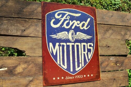 Trucks Ford Motors Tin Metal Sign Motor Co - Winged Wheel Logo Dealer