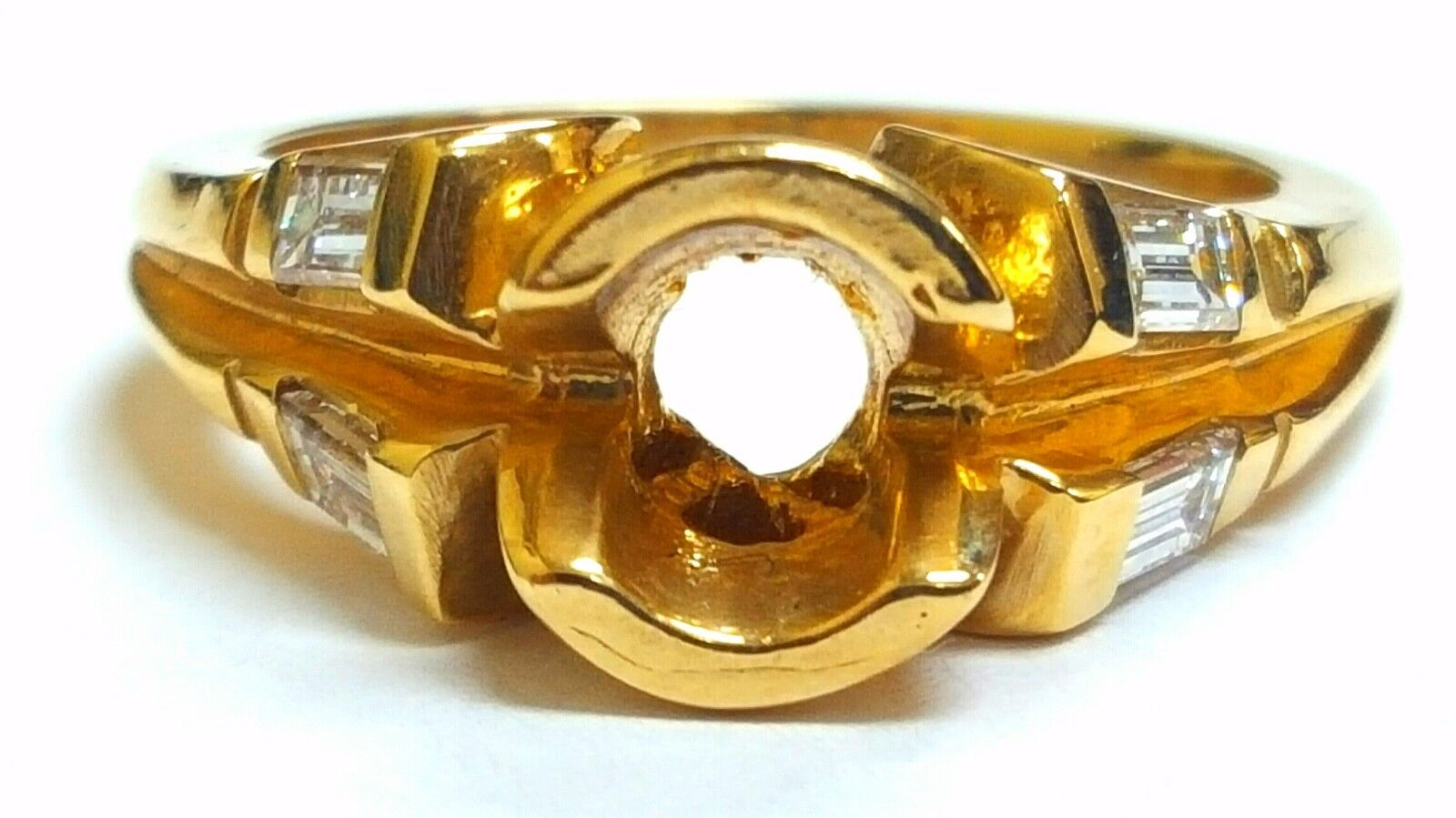 14K Yellow gold Semi Mount 0.46ct F color VS2 Clarity EX Diamond Engagement Ring