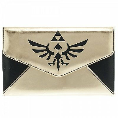 *NEW* The Legend of Zelda Logo Gold / Black Envelope Wallet