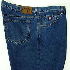 Mens Vintage CHAPS Ralph Lauren RL Leather Tag 46 x 30 Blue Denim Jeans   NEW!
