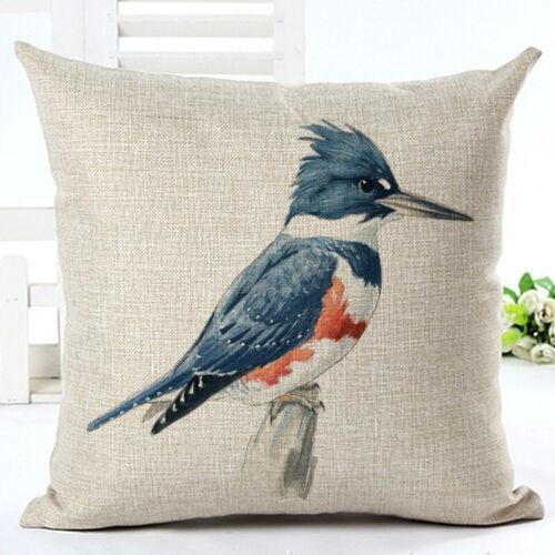 """Oiseau Throw Pillow Cover Decorative en lin toile de jute Extérieur Housse De Coussin 18/"""""""
