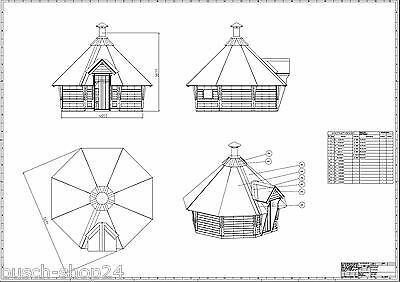 Holzhütte 4,0m Bauplan Baupläne Kota Grillkota Grillhütte Anleitung Bauanleitung