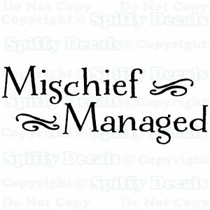 Mischief Managed Harry Potter Quote Vinyl Wall Decal Lettering
