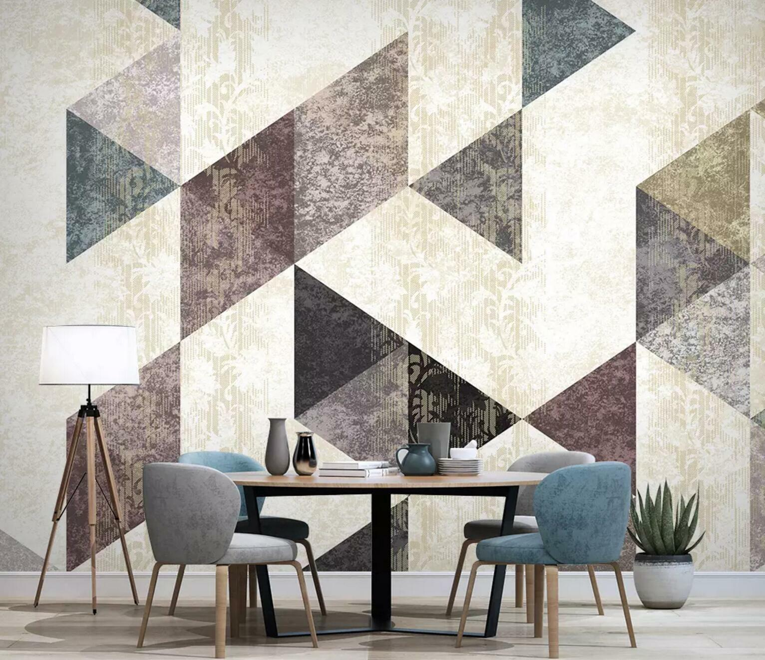 3D Floral Triangle 62 Wall Paper Exclusive MXY Wallpaper Mural Decal Indoor wall