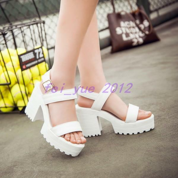 Womens High Chunky Heels Platform Ankle Strap Sandals Creeper Beach shoes Pumps
