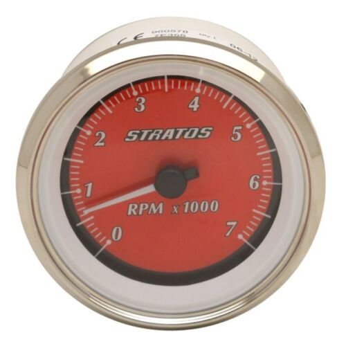 Stratos 7E355 Beede 960578 Silver Red 3 3//4 Inch 7000 RPM Boat Tachometer Gaug