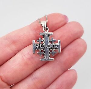 Sterling silver jerusalem cross pendant 18 italy box chain necklace image is loading sterling silver jerusalem cross pendant 18 034 italy aloadofball Images