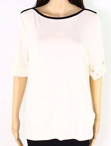 Lauren by Ralph Lauren Womens Knit Top Cream White Size XL Boat-Neck $45- 069
