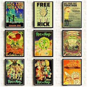 Rick y Morty Serie retro posters paper kraft ,decoracion hogar + de 20 Modelos