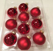 Set of 10 Red Valentine's Day Ornaments Round Balls Great for Wreaths/Tree