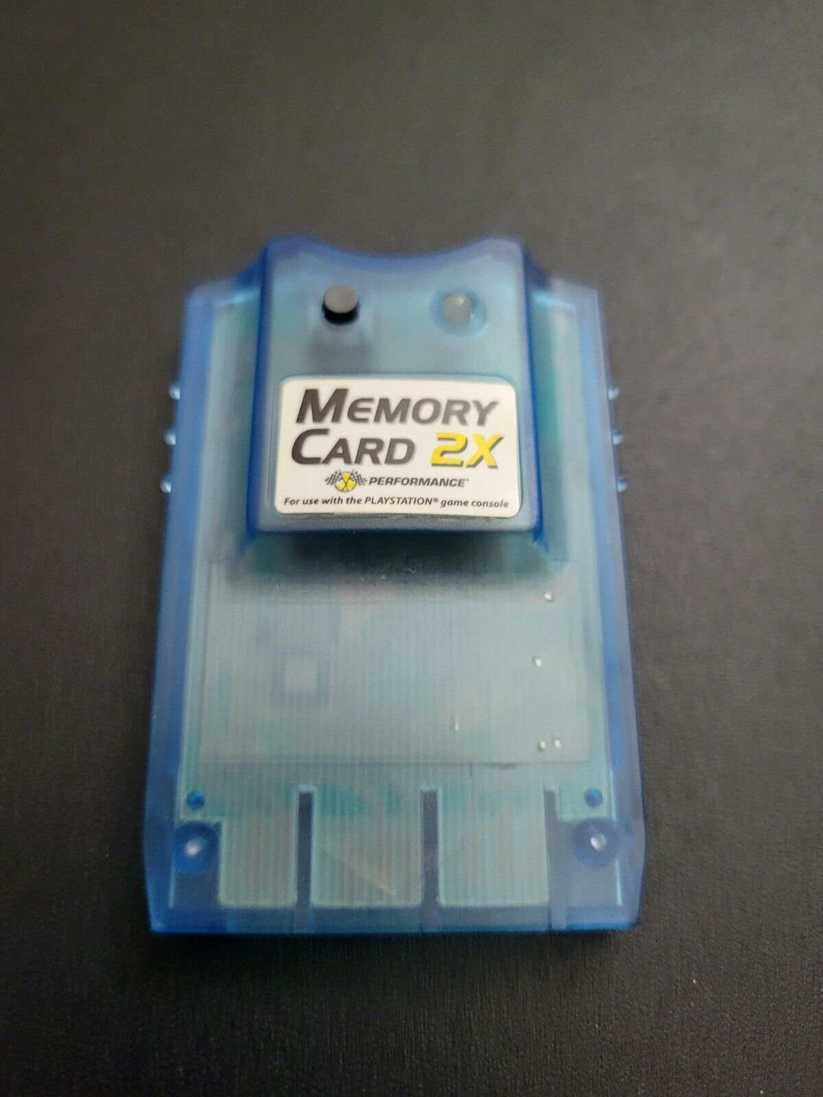 Performance Blueberry Blue 2X 2MB Sony Playstation 1 PS1 Memory Card VG Cond