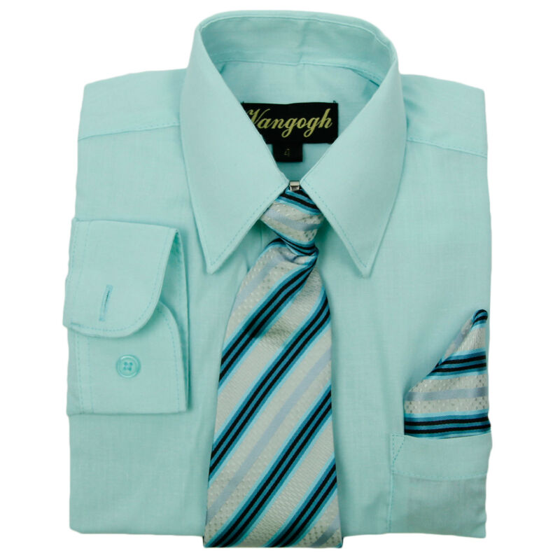 Boys Aqua Dress Shirt With Matching Tie & Hankie Long Sleeve Sizes 4 To 20