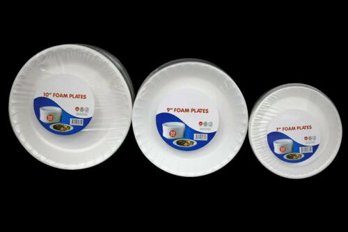 """BBQ 7/"""",9/"""" /& 10 Inch Events Top Quality Strong White Foam Plates for Parties"""