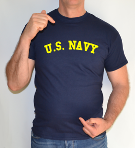 U-S-NAVY-NAVY-BLUE-YELLOW-LOGO-ARMY-US-MARINES-FORCES-UNISEX-T-SHIRT