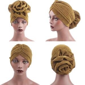 Women-Muslim-Elegant-Flower-Glitter-Turban-Hat-Indian-Cap-Head-Wrap-Headwear-JH