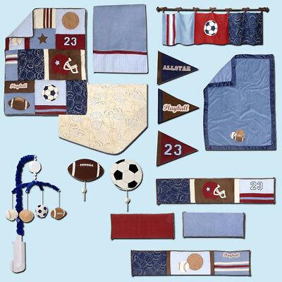 Blanket /& Mobile 12 pc Play Ball Sports Crib Bedding Set by NoJo Bumper
