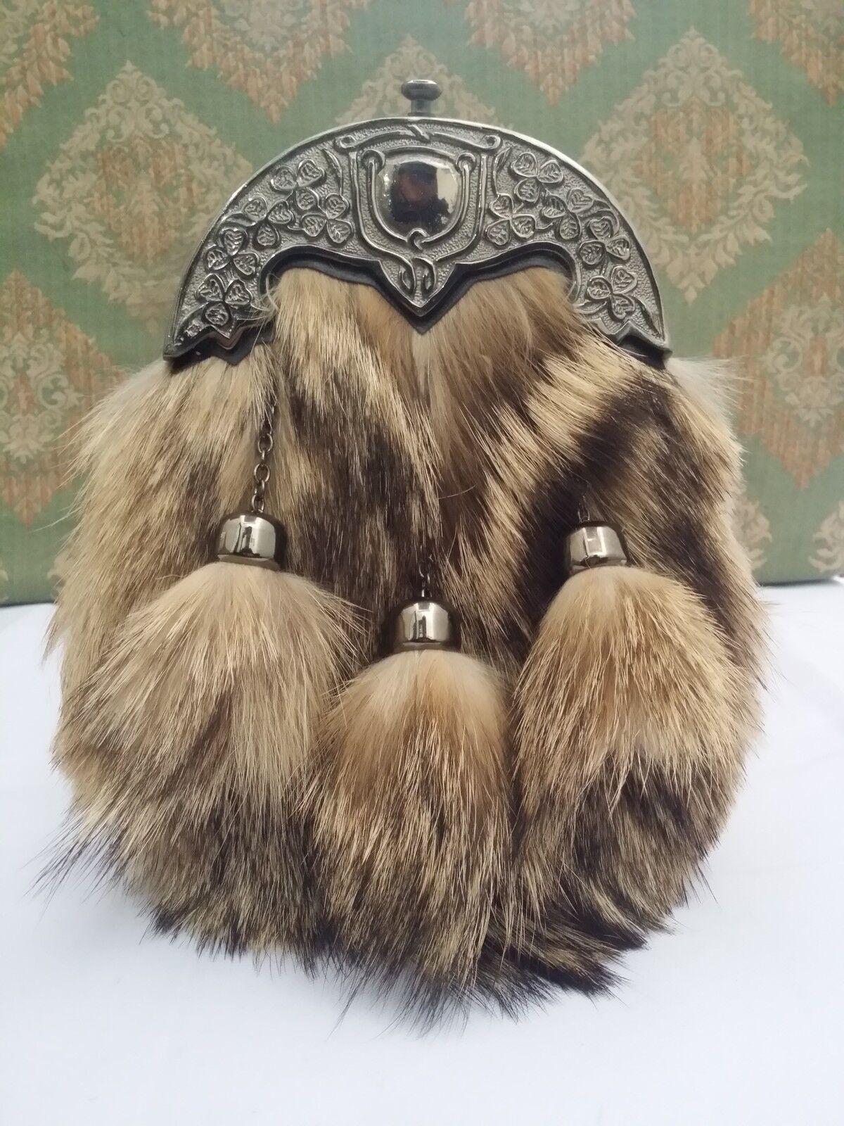HS Scottish Full Dress Kilt Sporran Formal Fox Fur Celtic Cantle Antique Finish