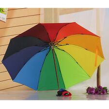 Multi-Color rain umbrella Women folding Umbrella Rainbow style Sun Rain Parasol