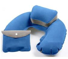 Inflatable Neck rest soft Travel Flight Pillow with Potable Pouch - BLUE
