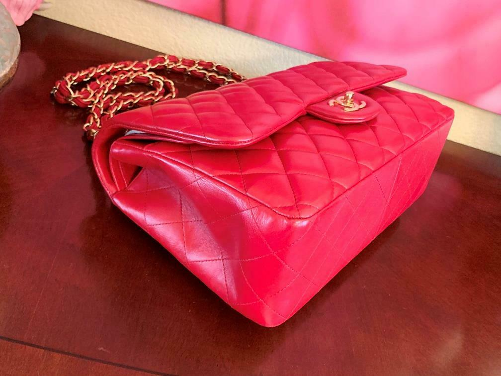 Authentic Chanel Classic Jumbo Red Lambskin Doubl… - image 5