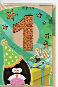 Carte Voeux Joyeux Anniversaire 1 An Pingouin Et Etoiles 17 X 11 5