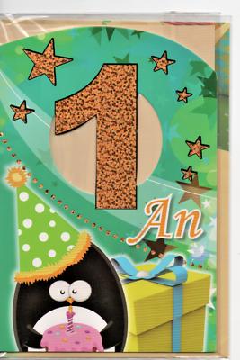 Carte Voeux.joyeux Anniversaire.1 An.pingouin Et étoiles.17 X 11,5 Cm