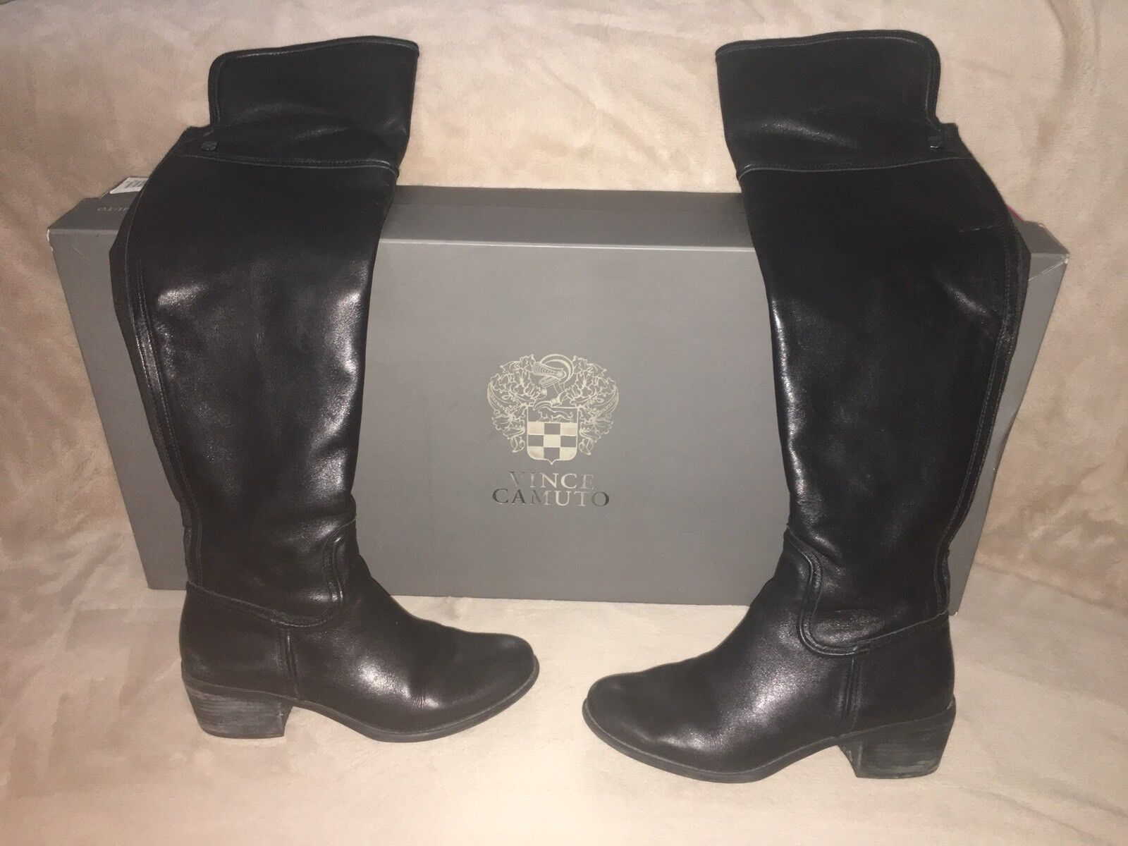 Vince Camuto Baldwin Black Over The Knee Boot Sz 8