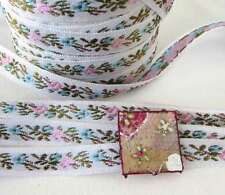 Vintage Ribbon Trim Woven Jacquard Ribbon Pink Flowers Blue White Japan