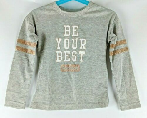 NWT Girl/'s Reebok T-Shirt Size 3T Gray Be Your Best Glitter Long Sleeve