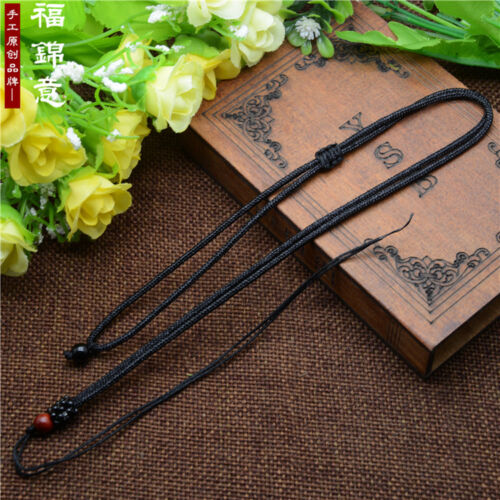 5Pcs Natural wood beads Black Circle string cord rope for pendant Necklace A209