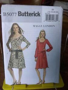 Butterick-Maggy-London-5077-misses-loose-dress-drop-waist-scoop-neck-sz-16-22