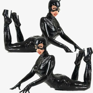 Halloween-New-Black-Sexy-Catwoman-Costume-Latex-Faux-Leather-Bodysuit-Uniform