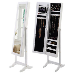 Mirrored Jewelry Cabinet Armoire Organizer Storage Box w Stand