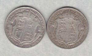 TWO 1913 & 1917 GEORGE V SILVER HALF CROWNS IN FINE CONDITION.