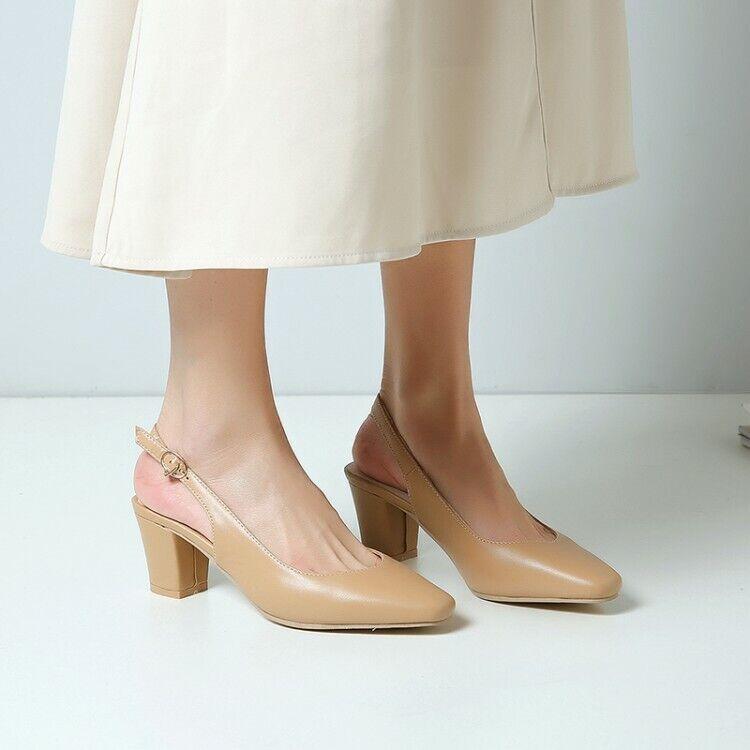 Womens Elegant Pure color Round Toe Slingbacks OL shoes Leopard Block Mid Heels