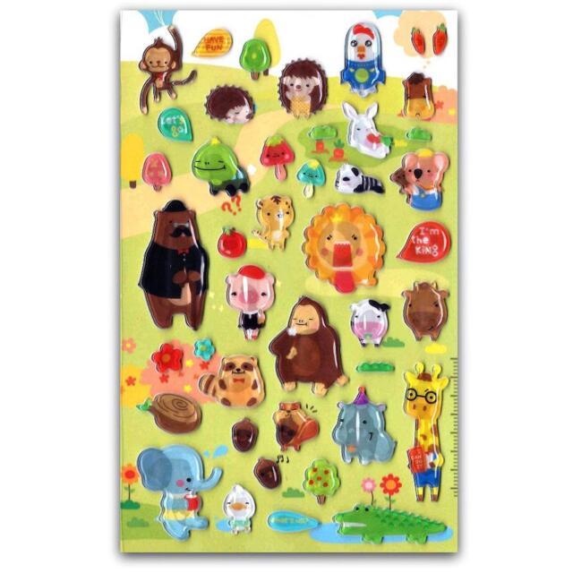 Cute Storybook Animal Gel Stickers Sheet Craft Kids Scrapbook