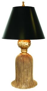 Details About New Luxury Large Tassel Twisted Black Shade Iron Gold Table Lamp