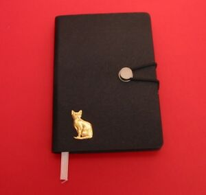 Short-Haired-Cat-Gold-Plated-Motif-A6-Black-Soft-Touch-Journal-Christmas-Gift