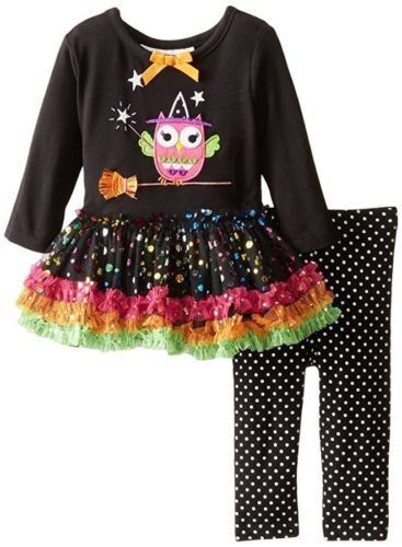 Bonnie Jean Baby Girls Halloween BOO Ghost Black Dress Outfit Set 0-3-6-9 Months