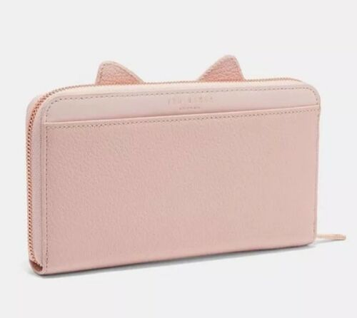 Bnwt Genuine Ted Baker Serini Pale Pink Leather Purse Cats Whiskers Zip Around