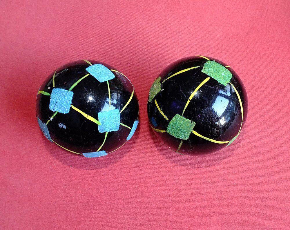 2 Christbaumkugel Glas Weihnachtskugel Rarität SCHWARZ gelb grün blau blau blau alt 50er b97d9f