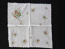 THREE VINTAGE 1920'S-1940'S WHITE COTTON LACE AND PRINT HANDKERCHIEFS