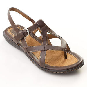 New Womens Boc Born Averie Brown Faux Leather Sandals