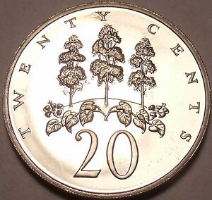 North & Central America Large Proof Jamaica 1970 20 Cents~only 12,000 Minted~mahoe Tree High Resilience Central America